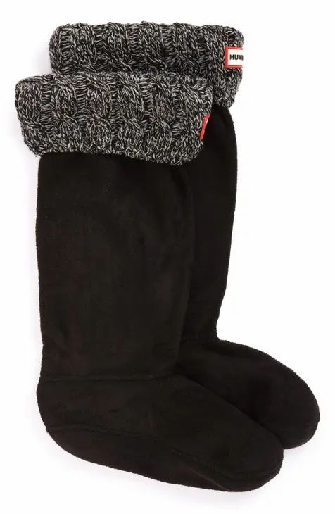 Hunter welly boot socks in black with cableknit cuff