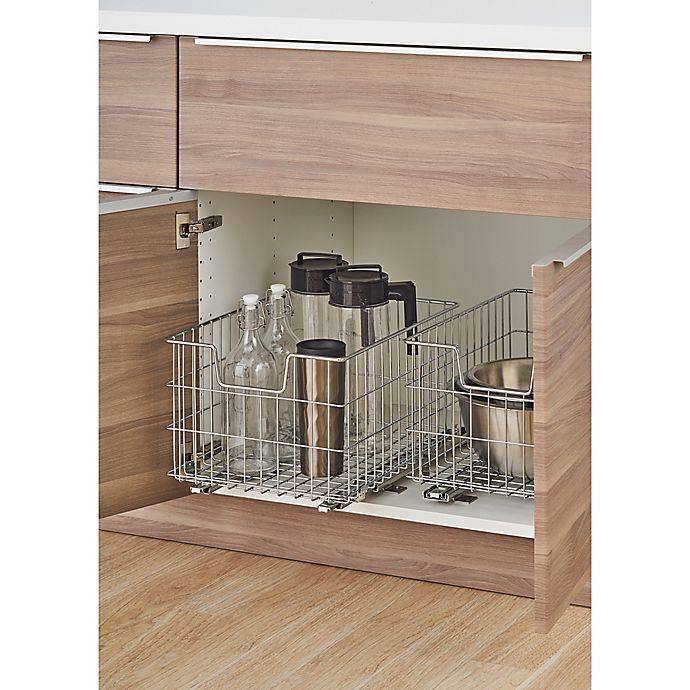 Metal  sliding baskets for under cabinet pull out storage.